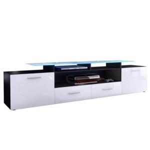 TV LOWBOARDS ♥ TV SIDEBOARD - TV Board Lowboard Almada V2 in Schwarz / Weiß Hochglanz