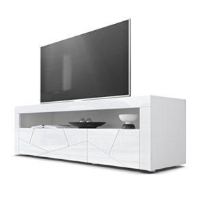 TV Board Lowboard Valencia, Korpus in Weiß/Fronten in Weiß Hochglanz Element 3D Struktur und Blenden in Weiß Hochglanz ♥  ♥ Lowboard Weiss