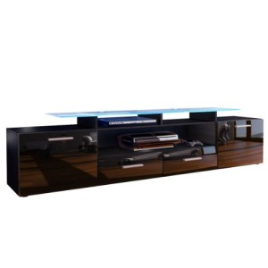 TV LOWBOARDS ♥ TV SIDEBOARD - TV Board Lowboard Almada V2 in Schwarz / Schwarz Hochglanz