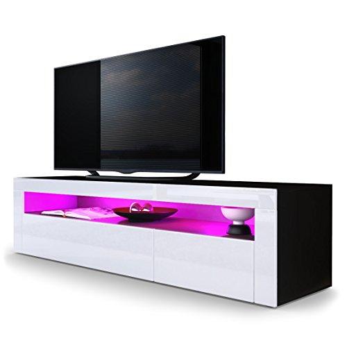 TV LOWBOARDS - TV Board Lowboard Valencia in Schwarz matt / Weiß Hochglanz / Weiß Hochglanz