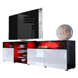 TV LOWBOARDS ♥ TV SIDEBOARD - TV Board Lowboard Granada V2 in Schwarz / Weiß Hochglanz