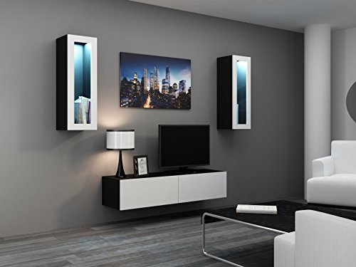 TV LOWBOARD HÄNGEND - Wohnwand Vigo Full II | schwarz matt / weiß Hochglanz