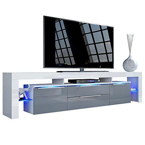 TV-LOWBOARD GRAU - TV Board Lowboard Lima Nova V2 in Weiß / Grau Hochglanz