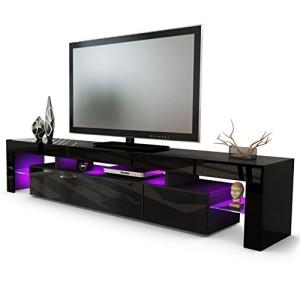 TV LOWBOARDS ♥ TV SIDEBOARD - TV Board Lowboard Lima V2 in Schwarz / Schwarz Hochglanz