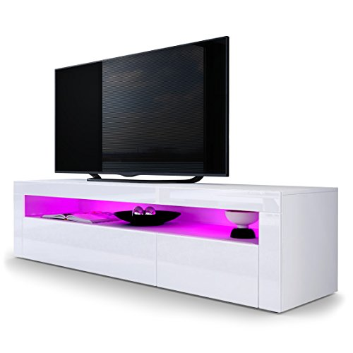 TV LOWBOARDS - TV Board Lowboard Valencia in Weiß matt / Weiß Hochglanz / Weiß Hochglanz