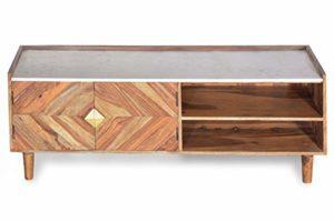 Sit Möbel Stone Lowboard Sheesham + Marmor ♥ Natur mit Heller Deckplatte ♥  ♥ Lowboard Holz ♥ Designer Lowboard