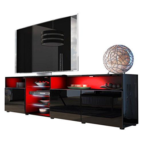 TV LOWBOARDS | TV SIDEBOARD - TV Board Lowboard Granada V2 in Schwarz / Schwarz Hochglanz