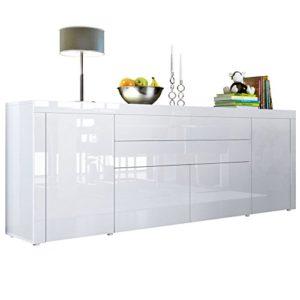 Vladon Sideboard Kommode La Paz V2, Korpus in Weiß Hochglanz/Front in Weiß Hochglanz mit Rahmen in Weiß Hochglanz ♥  ♥ Lowboard Weiss