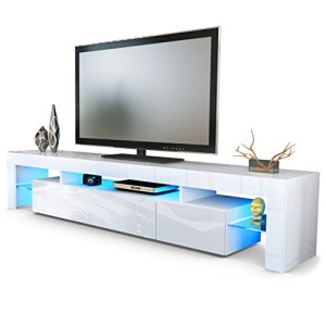 TV LOWBOARDS ♥ TV SIDEBOARD - TV Board Lowboard Lima V2 in Weiß / Weiß Hochglanz