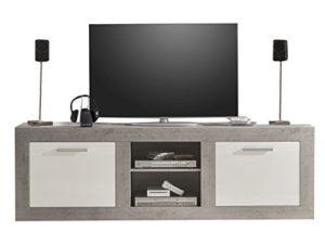 trendteam PE31835 TV Lowboard Beton weiss Hochglanz, | Beton Industry,