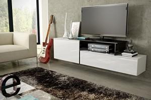 LOWBOARD WEIß HOCHGLANZ HÄNGEND - TV Board Lowboard ♥ Weiß   Schwarz